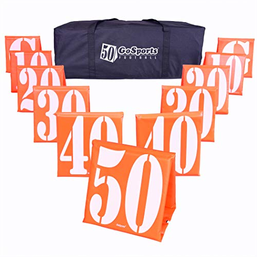 GoSports Football Field Yard Line Markers - Set of 11, High Visibility Weighted Yardage Markers with Portable Carrying Case, Orange