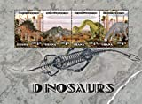 2014 Dinosaurs, Kentrosaurus, Achelousaurus, Brachiosaurus, Camarasaurus, Collectible Sheet of 4 Stamps, Mint Never Hinged