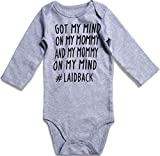 UNIFACO Baby Boys Girls Romper GOT My Mind ON My Mommy Onesie Comfy Long Sleeve Layette One Piece 6-12 Months Grey