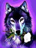 Kit de pintura de diamantes 5D para manualidades,diy pintura al oleo por numeros diseño de lobo, diamond painting 5d punto d e cruz decoracioncolor morado, 30 x 40 cm