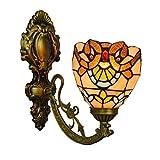 LHQ-HQ British Stained Glass Espejo Moderno Faros Jardín de Noche la lámpara de Pared del Pasillo Barroco de Vidrio- lámpara de Pared de la decoración de la Pared de luz de la lámpara de Tiffany
