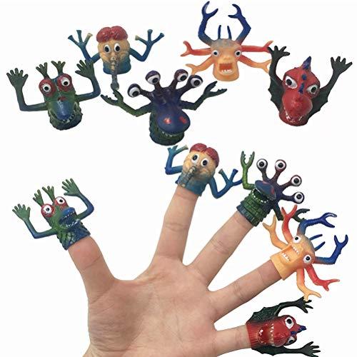 BSTCAR 5 marionetas de dedo, monstruos, marionetas de silicona de dedo de simulación duraderas y preciosas marionetas de dedo, juguetes lindos muñecas para niños y familia