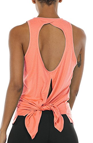 icyzone Damen Sport Yoga Tank Top Rückenfrei - Fitness Running Shirts Casual Bluse Oberteil (XL, Orange)