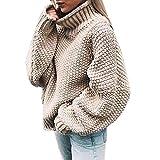 SANFASHION Pull Femme Chandail Hiver Casual Sweater Shirt Tops Tricoté Manuel Grande Taille Loose Chandail Col Haut Roule Manches Longues Chaud Pullover Unis Outwear Vintage Manuel