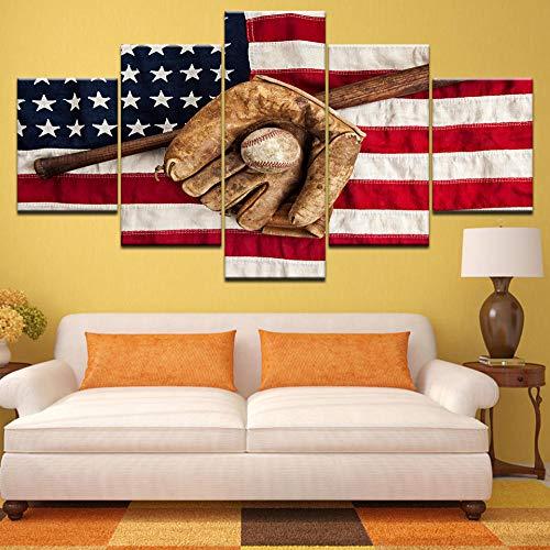Usa vlag canvas schilderij print sport honkbal handschoen honkbalknuppel posters kunst aan de muur foto's voor de woonkamer home decor- 30x40 30x60 30x80cm (geen frame)