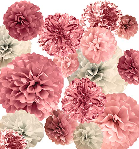 VINANT 20 PCS Pink Rose Gold Party Decoration - Tissue Paper Pom Poms - Birthday Party Decoration - Baby Shower - Bridal Shower - Rose Gold, Dusty Rose, Blush Pink, Grey - 14