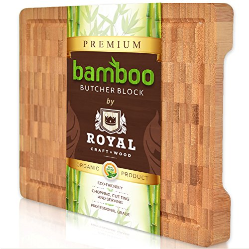 Thick Bamboo Wood Cutting Board / Kitchen Butcher Block - Heavy Duty Chopping Board With Juice Grooves and Handles. Best for Carving Meat, Fish and Chicken | Perfect Housewarming Gift