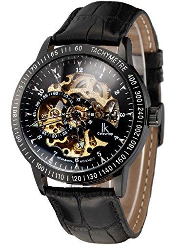 Alienwork IK Herren Damen mechanische Automatik-Uhr schwarz mit Lederarmband Skelett