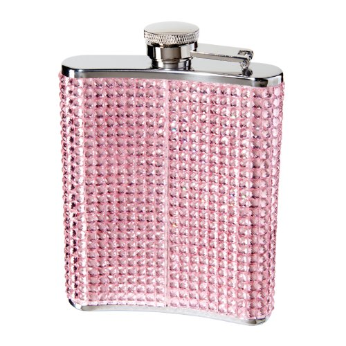 Oggi 9248.13 Glitter and Glitz Stainless Steel Hip Flask, Pink