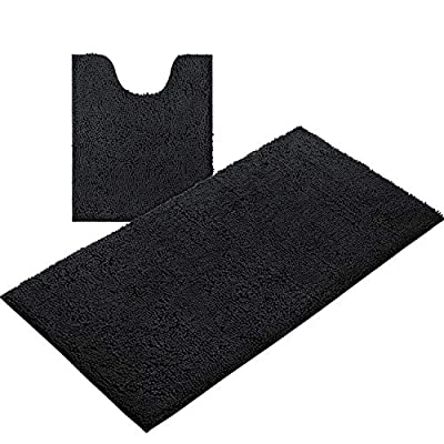 "HOMEIDEAS 2 Pieces Bathroom Rugs Runner Set Black, Includes U-Shaped Contour Toilet Mat 20"" x24""? 1 Long Bathroom Rug Runner 27""x47"", Machine Washable & Non Slip Bath Rugs for Bathroom, Tub, Shower"