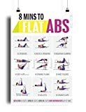 Fitwirr 8 Minute Abs Workout Poster - Core Exercises for Women - Tone and Tighten Your Abs - Six Pack Abs Training - Exercise Poster - Bodyweight Workouts 19'x27'