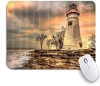 EILANNAマウスパッド 灯台航海海波岩海辺の海岸風景専門職 ゲーミング オフィス最適 高級感 おしゃれ 防水 耐久性が良い 滑り止めゴム底 ゲーミングなど適用 用ノートブックコンピュータマウスマット