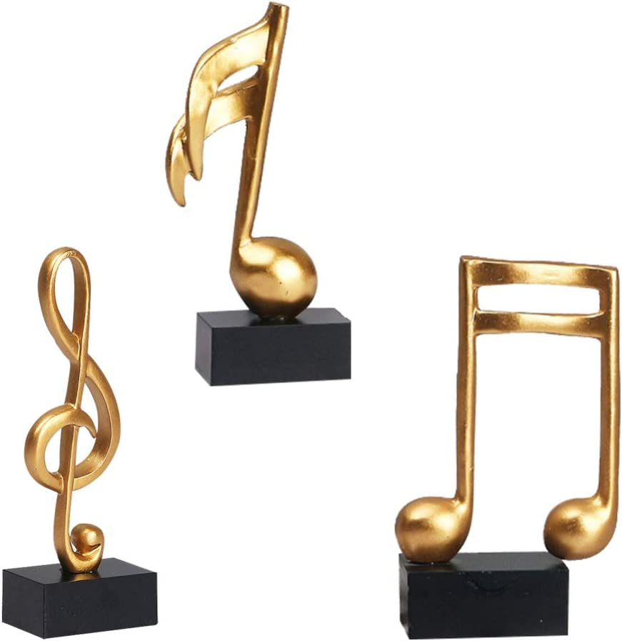 DOITOOL 3pcs Resin Note Figurines Tabletop Musical Sculpture Statue Crafts Music Note Figurine Decorations Gifts for Home Office Decor Piano Gifts Souvenirs