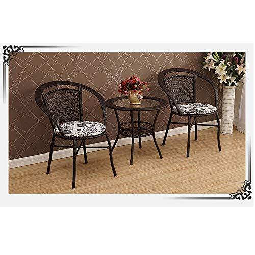 MEI XU Silla de Mimbre Tejida de 3 Pedazos, Balcón Interior Combinación Sala de Mesa y Juego de sillas, Ocio Estilo Pastoral de 3 Piezas Set @ (Color : Brown)