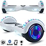 Magic Vida Skateboard Elettrico 6.5 Pollici Bluetooth Power 700W con Due Barre LED Monopattini elettrici autobilanciati di buona qualità per Bambini e Adulti(Bianco)