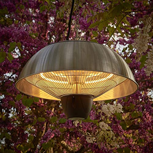 Firefly Ceiling Hanging Halogen Bulb Electric Infrared Patio Heater (1.5kW, Stainless Steel)
