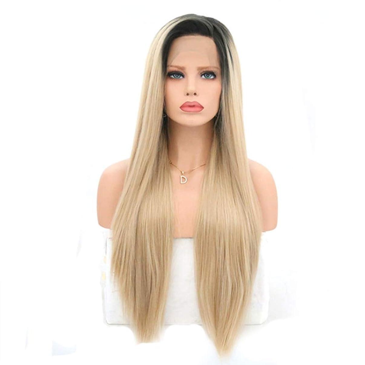 間接的あごひげ水Summerys 女性のためのロングストレートかつら前髪付きかつら人工毛髪かつら自然なかつら (Size : 22 inches)