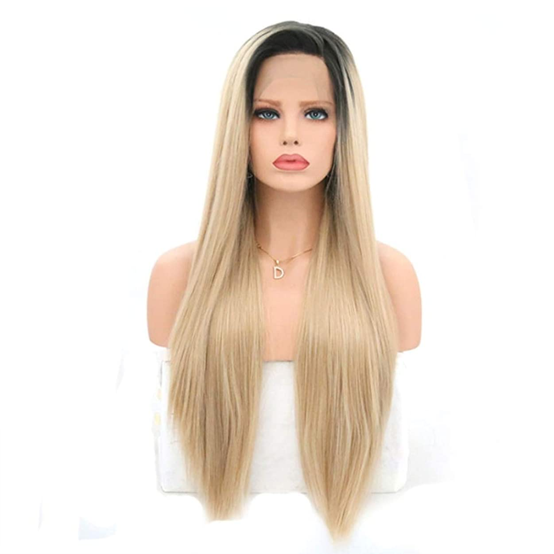 連続した小説深くSummerys 女性のためのロングストレートかつら前髪付きかつら人工毛髪かつら自然なかつら (Size : 22 inches)