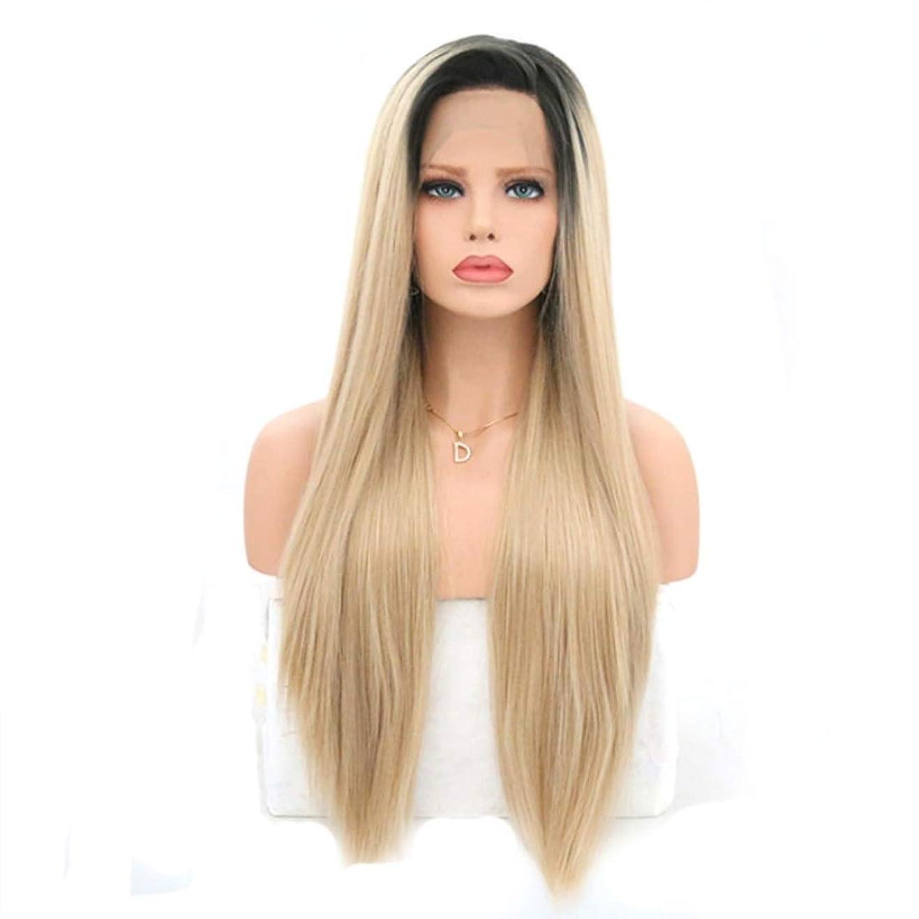 正しいハードリング素晴らしい良い多くのSummerys 女性のためのロングストレートかつら前髪付きかつら人工毛髪かつら自然なかつら (Size : 22 inches)