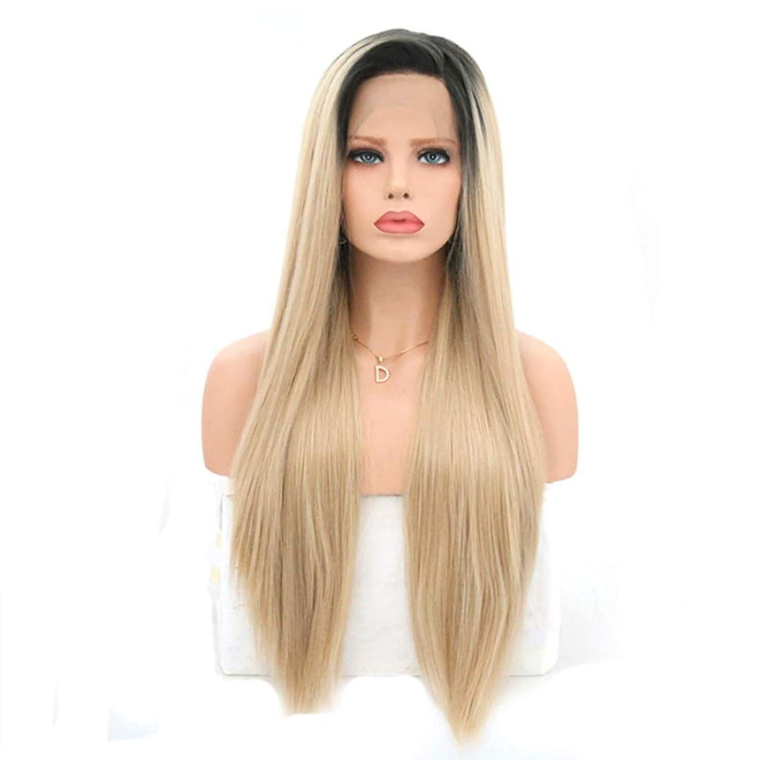 ライナーラボウィンクSummerys 女性のためのロングストレートかつら前髪付きかつら人工毛髪かつら自然なかつら (Size : 22 inches)