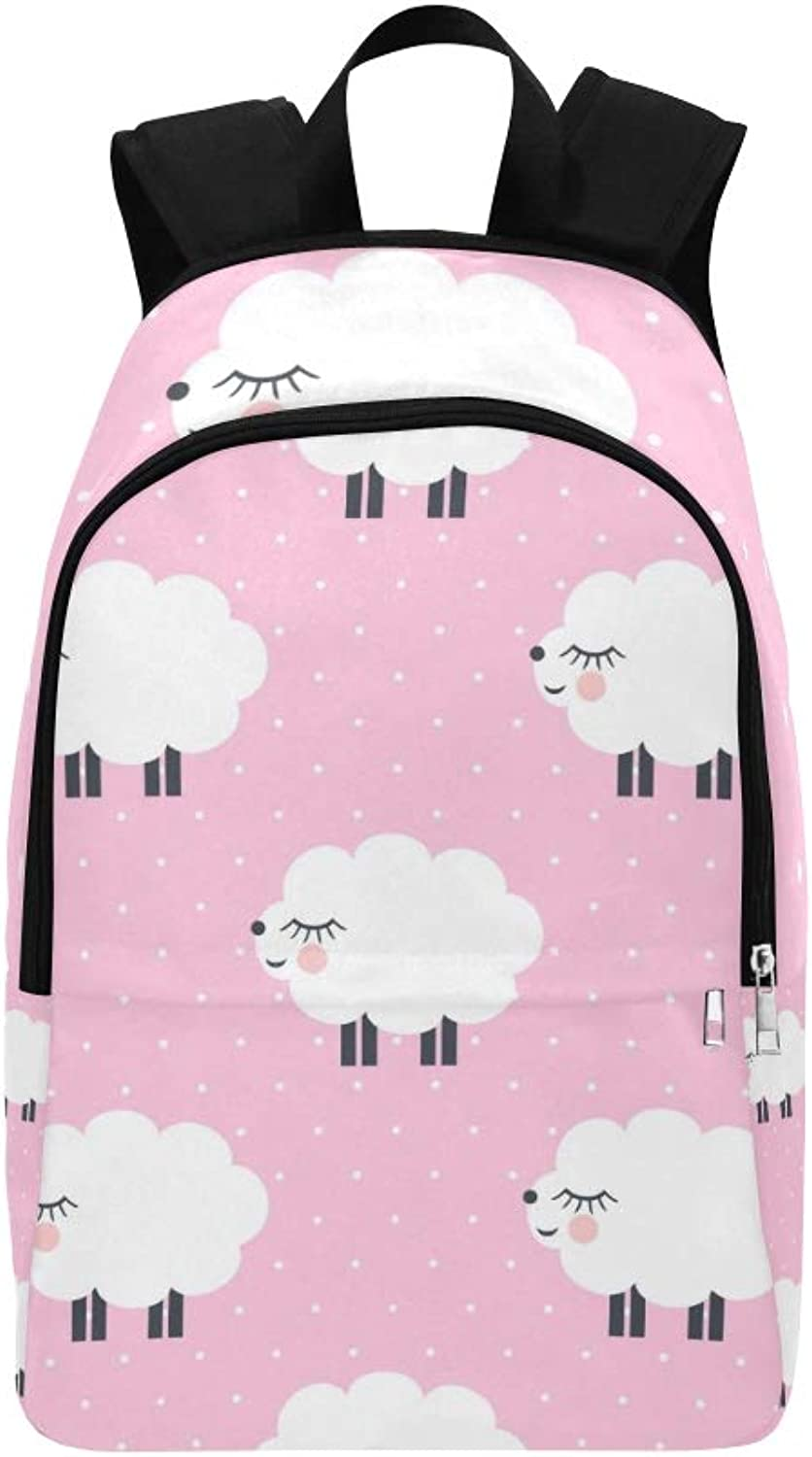 Cute Sheep On Pink Casual Daypack Travel Bag College School Backpack for Mens and Women