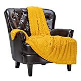 Chanasya Soft Faux Fur Embossed Throw Blanket - Solid Color Fuzzy Double Layered Super Soft Cozy Plush Elegant Yellow Throw - for Bed Couch and Living Room Décor (50x65 Inches) Golden Blanket