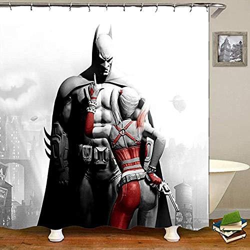 YUJEJ801 Duschvorhänge Anti schimmel Wasserdicht Polyester 3D Dekorative Badvorhang Badezimmer Duschvorhang Für Haus & Hotel Grün 180x180cm,Batman Harley