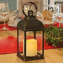 """فانوس تزئینی PetGirl با شمع تایمر شمعهای بدون شعله 9 """"H داخلی / فانوس در فضای باز با استفاده از باتری 3AAA حلق آویز ، پلاستیک با زیربناهای برنز"""