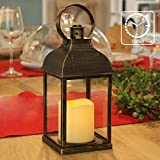 Decorative Lanterns with Timer Flameless Candle Using Battery for 12''H Outdoor and Indoor Hanging,Lantern Decor for Wedding with Plastic and Bronze Hue.
