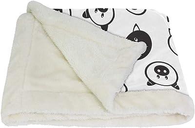 VAWA ブランケット ひざ掛け かわいい 豚柄 毛布 着る 厚手 大きい 大判 紐付き 寒さ対策 オフィス アウトドア用 白い豚 黒い豚