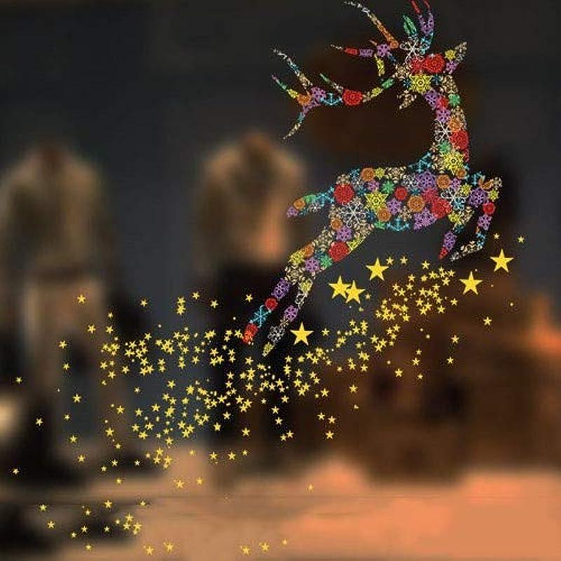 アダルトルー変更可能RENKUNDE クリスマスの窓ガラスのドアステッカー、色の動物クリスマスシーンのレイアウト、トレース、静的なステッカーステッカーウォールステッカー 静的ステッカー
