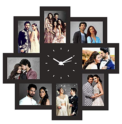 Color Splash, Customized, Personalized Wooden Photo Clock with 8 Photos -for Birthday and Anniversary - Multicolor (12x12 inch)