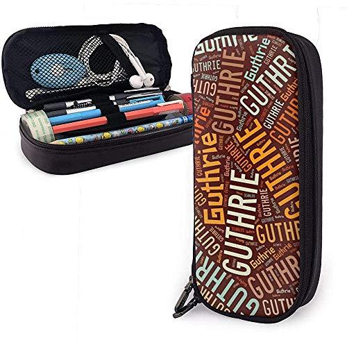 Guthrie - Apellido americano Estuche de lápices de cuero de gran capacidad Bolígrafo Papelería Organizador Titular Oficina Maquillaje Pluma Cosas Bolsa de viaje