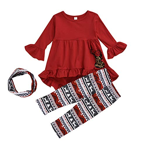 Toddler Christmas Outfit Baby Girls Long Sleeve Reindeer T-Shirt Dress Snowflakes Legging Scarf Autumn Winter Clothes Set 3pcs