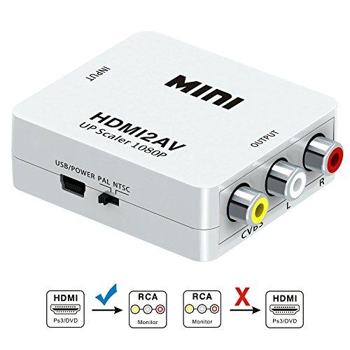 GANA Convertidor de video soporte HDMI a RCA, HDMI 1080P con cable...