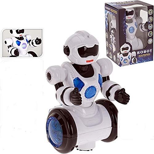 Tender Toys Roboter weiß 24 cm ,Funktion sowie Musik und Licht für Kinder