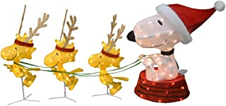 ProductWorks 60-Inch Peanuts 4-Piece 3D LED Pre-Lit Snoopy in Dog Bowl Sled with Woodstock Reindeer Christmas Décor, 180 Lights