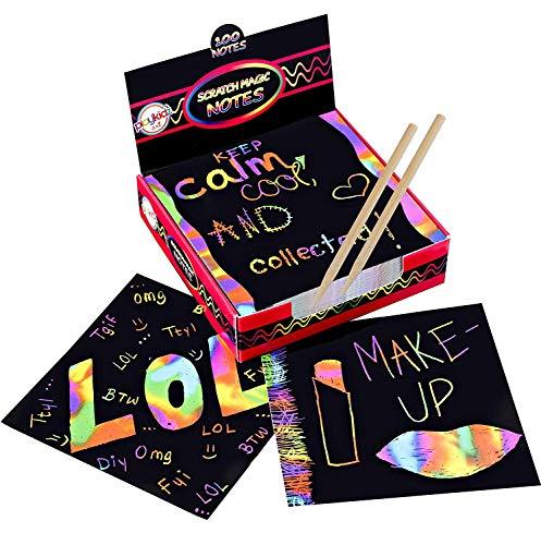 Scratch Art Kit - Magic Scratch Off Notes y [2] Stylus Tools para niños y Adultos - 100 Hojas de Papel Negro - Cree Coloridas Tarjetas de Arco Iris, marcadores, Notas, Fotos y Otro Arte sin Ti