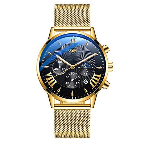 CETLFM New Sun and Moon Uhr, Multifunktions Sonne Und Mond Alternate wasserdichte Quarz-Uhr, DREI-Augen-Mode-Uhr,Gold