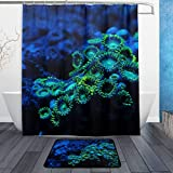 Zoanthids Coral Shower Curtain Set with Bath Mats Rugs Bathroom Mat Set Rug Capret for Bathroom Decor - 60 x72 in,23.6x15.7 in