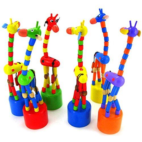 Fulltime Jouet enfants d'Intelligence en bois danse Stand girafe à bascule coloré