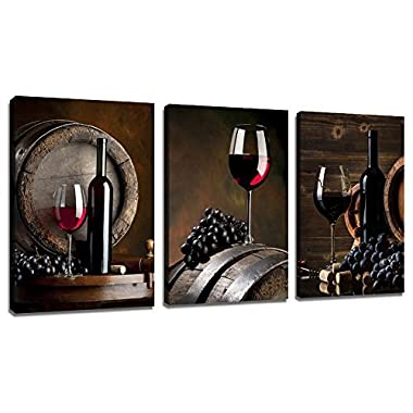 Red Wine Artwork Print on Canvas Grape Wall Picture Ready to Hang Vintage Canvas Printing for Living Room