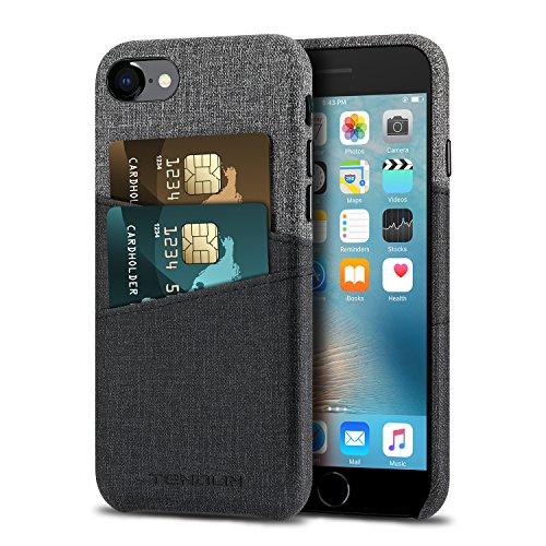 TENDLIN Funda iPhone SE 2020 / Funda iPhone 7 / Funda iPhone 8 Carcasa de Cartera de Cuero Premium con 2 Ranuras para Tarjetas Compatible con iPhone SE 2020 / iPhone 7 y iPhone 8 (Gris)