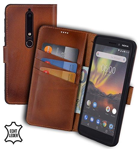 Suncase Book-Style (Slim-Fit) Leather Case Mobile Phone Case Cover (met standaard functie en kaartenvak - onbreekbare binnenschaal) voor Nokia 6.1 | Nokia 6 (2018), gebrand cognac