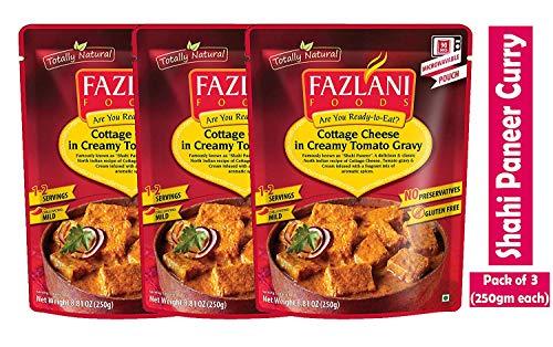 Fazlani ALIMENTS Prêt à manger Shahi paneer -Cottage Fromage au Curry Sauce tomate acidulée, -Pack de 3, 250g Chaque