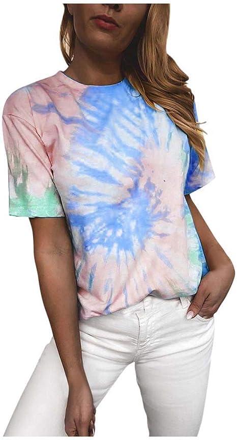 LEKODE Women Casual Tops Tie-dye Print Drawstring Tunic Autumn Hoodie