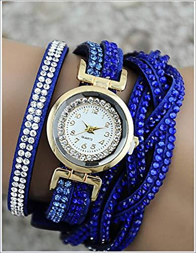 Redmei Cuero de la Pulsera del Reloj del Diamante del Reloj Pulsera...