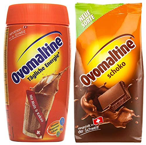 Probierpaket Ovomaltine Getränkepulver 2er Pack, 450 g Schokopulver, 500 g Dose Cassic Pulver