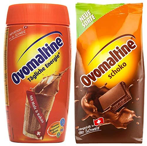 Paquete de degustación Bebida ovomaltina en polvo, paquete de 2, 450 g de chocolate en polvo, 500 g de estaño en polvo Cassic