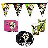 com-four 25-teiliges Totenkopf und Piraten Party-Geschirr und Deko-Set für Halloween, Geburtstag, Motto-Party (025-teiliges - Halloweenset)